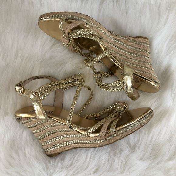 5e9f204f780 Michael Kors Gold espadrille wedge sandal 7.5